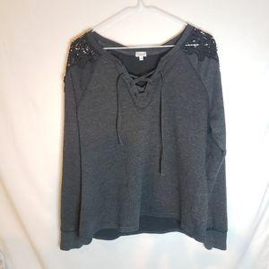 Kismet pullover sweatshirt with lace shoulders